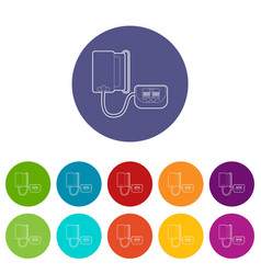 Tonometer icons set color vector