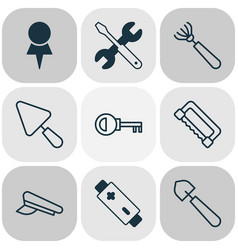 Tools icons set with saw pilot hat repair tools vector