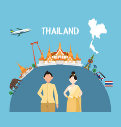 Traveling to thailand by landmarks map vector