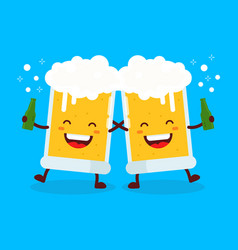 Two cute dancing fun friend drunk beer glasses vector