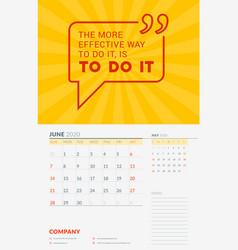 Wall calendar template for june 2020 design print vector