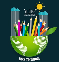 Welcome back to school with globe and Color vector