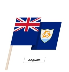 Anguilla Ribbon Waving Flag Isolated on White vector image