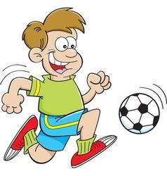 Cartoon boy playing soccer vector image vector image