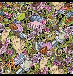 cartoon cute doodles spa massage seamless pattern vector image