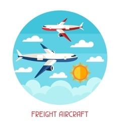 Freight aicraft transport background in flat vector