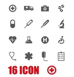 grey medical icon set vector image vector image