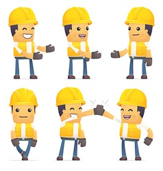 set of contractor character in different poses vector image vector image