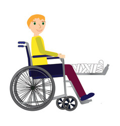 young man in a wheelchair with broken bone vector image