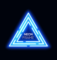 Blue neon light triangles shining techno frame vector