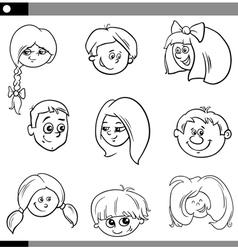 children heads characters set vector image