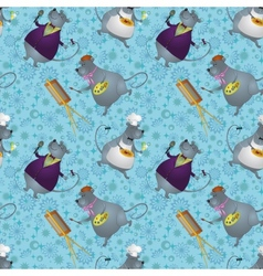 Seamless rats artist cook and singer vector image