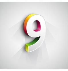 3d Number Nine vector image vector image