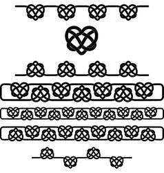 Celtic heart knot symbols set vector image