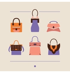 collection of woman bags and purses vector image