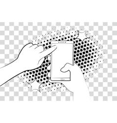 Comic phone with halftone shadows Hand holding vector image