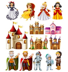 Different fairytales characters and palace vector image vector image