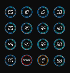 digital countdown timer clock design icons vector image