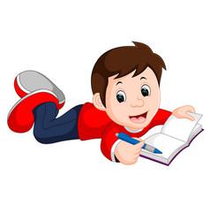 happy boy reading book alone vector image