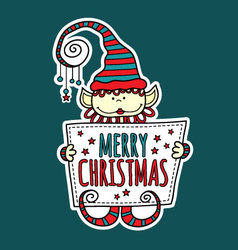 Merry Christmas Elf Holding Sign vector image vector image