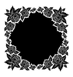 roses silhouettes frame vector image