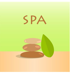 spa stones and green leaves stones vector image
