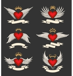 Winged Heart Emblem Set vector image vector image