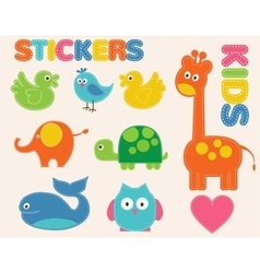 colorful animals set Stickers for kids vector image vector image