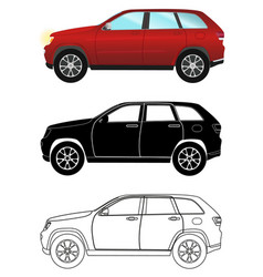 group of different kind terrain vehicles red vector image vector image
