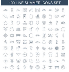 100 summer icons vector