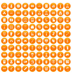 100 war icons set orange vector