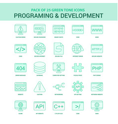 25 green programming and developement icon set vector