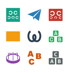 9 alphabet icons vector image