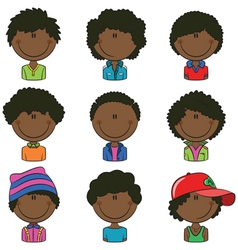 African-American boys avatar vector image