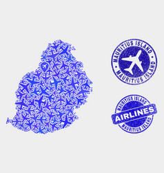 Airline collage mauritius island map and vector