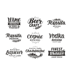 Alcoholic drink Collection lettering labels for vector image