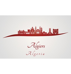 Algiers skyline in red vector image
