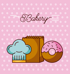 Bakery sweet donut hat chef and paper bag dots vector