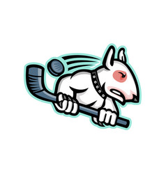 Bull terrier ice hockey mascot vector