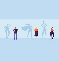 Business people with winner shadow characters vector