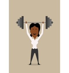 Businesswoman lifting barbell above head vector