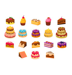 Cakes sett sweet dessetrts baked cakes and vector