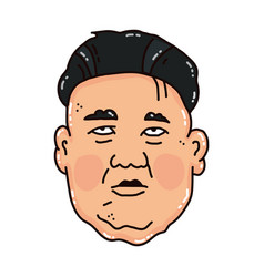 Cartoon portrait of the sad kim jong-un vector