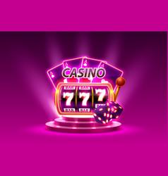 casino slots 777 banner winner scene podium vector image