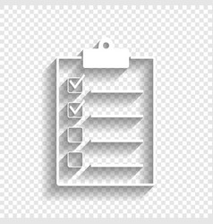 Checklist sign white icon vector
