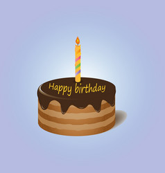 Chocolate cake with candle happy birthday vector