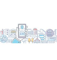 City life - modern line design style vector