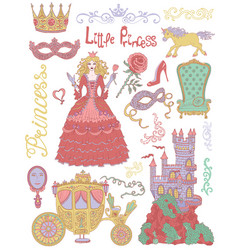 Colorful hand drawn set with princess vector
