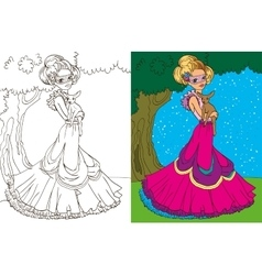 Colouring Book Of Princess In Forest vector image