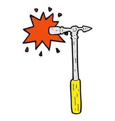 Comic cartoon pin hammer vector